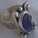 Purple glass  silver ring SL72
