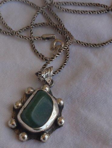 Green glass stone  hand made pendant SL434