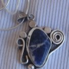 Lapis raw silver pendant  MR10