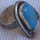 Turquoise pressed silver ring MT 14