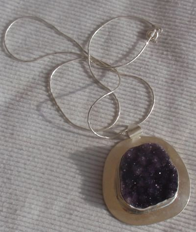 Amethyst crystal pendant hand made