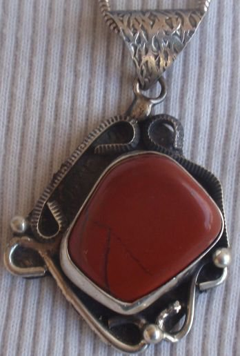 Blood stone silver hand made pendant MT19