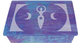 Blue Glass Etched Moon Goddess Tarot Box -  Metaphysical