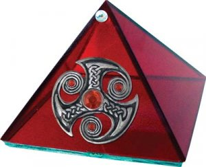 Celtic Stone Glass Pyramid - Ruby - 4 inch - Metaphysical