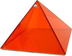 Health Orange Glass Pyramid - 6 inch - Metaphysical