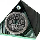 Black Glass Pyramid with Chinese Coin Metal - 2 inches