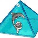 Aquamarine Dolpin Glass Wishing Pyramid  - 2 in. - Metaphysical