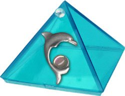 Aquamarine Dolpin Glass Wishing Pyramid  - 2 in. - Metaphysical