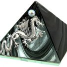 Black Glass Pyramid with Dragon 2 inches Metaphysical