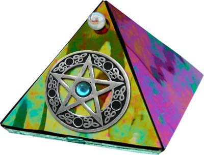Black Diamond Glass Pyramid with Pentacle and stone 2 inches Metaphysical