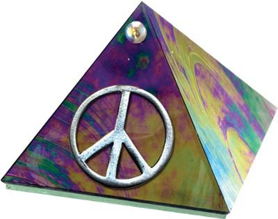 Black Rainbow Glass Pyramid with Peace Symbol 2 inches Metaphysical