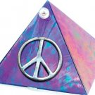 Blue Iridescent with Peace Symbol Glass Wishing Pyramid - 2 inch - metaphysical