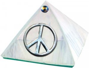White Iridescent Peace Symbol Glass Wishing Pyramid - 2 inch - metaphysical