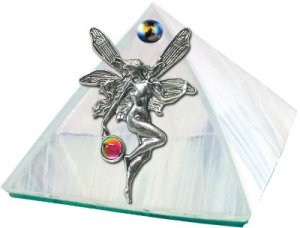 White Iridescent with Fairy Glass Wishing Pyramid - 2 inch - metaphysical