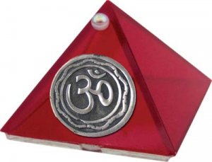 Ruby OM Glass Wishing Pyramid - 2 inch - metaphysical