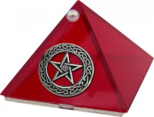 Ruby Celtic Pentacle Glass Wishing Pyramid - 2 inch - metaphysical