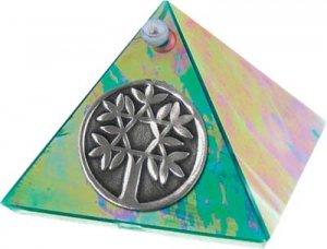 Emerald Tree of Life Glass Wishing Pyramid - 2 inch - metaphysical