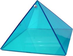 Aquamarine Serenity Glass Pyramid - 6 inch - Metaphysical