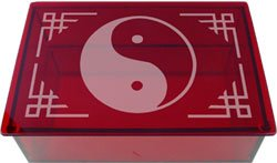 Ruby Yin and Yang Etched Glass Tarot Box -  Metaphysical