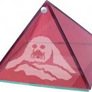 Harp Seal Red Etched Glass Pyramid - 4 inch diameter - Metaphysical