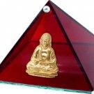 Ruby Buddha Glass Wishing Pyramid - 4 inch diam.- metaphysical
