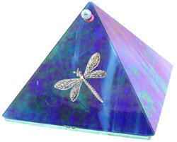 Blue Iridescent Dragonfly Glass Wishing Pyramid - 4 inch - metaphysical