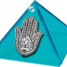 Aquamarine Fatima Hand Glass Wishing Pyramid - 2 inch - metaphysical