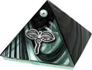 Black Eyes of Buddha Glass Wishing Pyramid - 2 inch - metaphysical