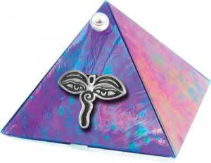 Blue Iridescent Eyes of Buddha Glass Wishing Pyramid - 2 inch - metaphysical