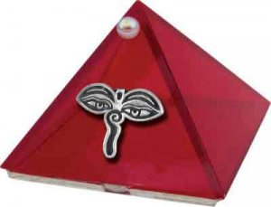 Ruby Red Eyes of Buddha Glass Wishing Pyramid - 2 inch - metaphysical