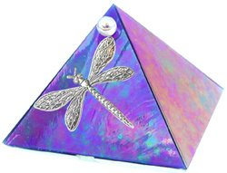 Blue Iridescent Dragonfly Glass Wishing Pyramid - 2 inch - metaphysical