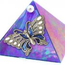 Blue Iridescent Butterfly Glass Wishing Pyramid - 2 inch - metaphysical
