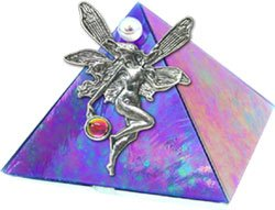 Blue Iridescent Fairy with Crystal Glass Wishing Pyramid - 2 inch - metaphysical