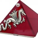 Ruby Red Dragon Glass Wishing Pyramid - 2 inch - metaphysical