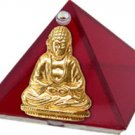 Ruby Red Buddha Glass Wishing Pyramid - 2 inch - metaphysical