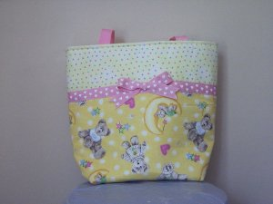 Personalized, Yellow with Pink and Pastales, Teddy Bears, Diaper Bag