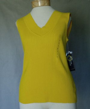 Jones NY Signature Yellow Cotton Knit Stretch Top L
