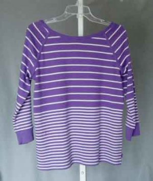 Jones NY Signature Violet White Striped Top Size XL