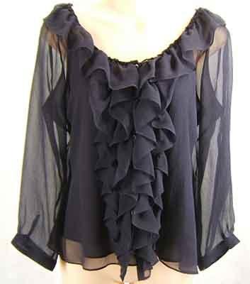 Ralph Lauren100% Silk 2PC Set Top Blouse & Tank Navy Size 12P