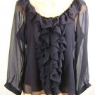 Ralph Lauren100% Silk 2PC Set Top Blouse & Tank Navy Size 12P