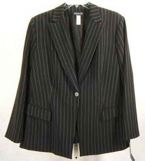 Jones NY Collection Blazer Jacket Black Pinstripe Plus Size 22W