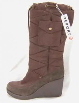 NEW Report Brown Wedgie Boots Footwear 12M