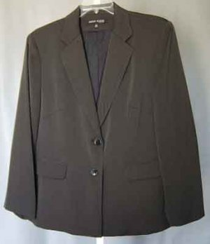 Anne Klein NY Black Label Brown Blazer Jacket Plus Size 18W