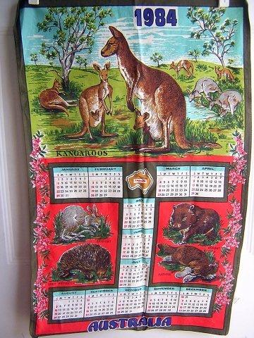 Bright cotton souvenir calendar towel Australia 1984 vintage 1016vf