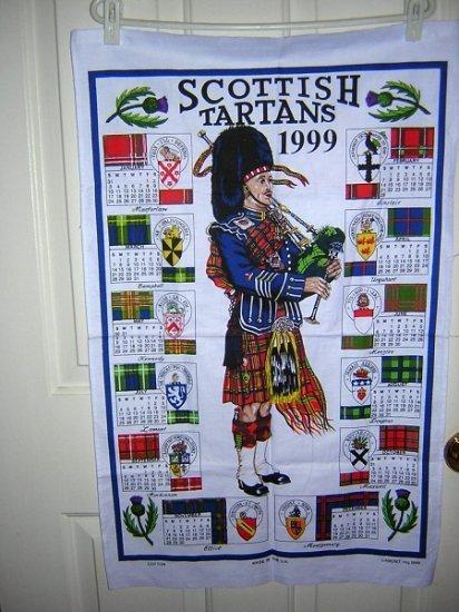Scottish Tartans 1999 souvenir calendar towel unused 1030vf