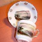 Bone china souvenir cup saucer Qualicum Beach BC Canada 1048vf