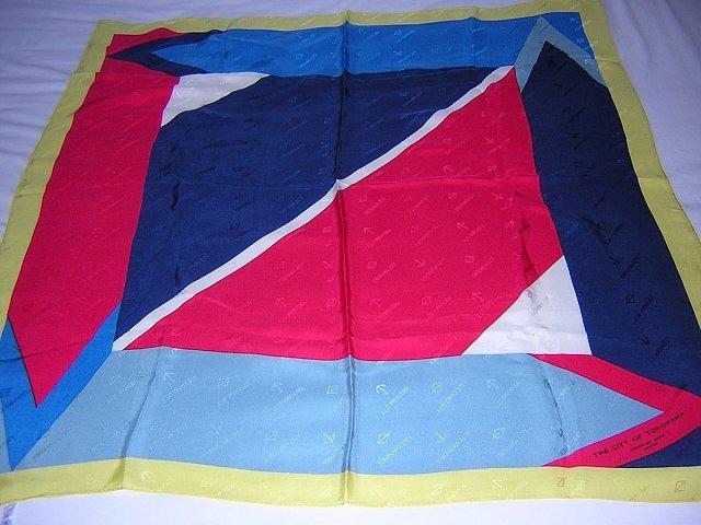 Yokohama City souvenir silk scarf sleek sophisticated signed 1055vf