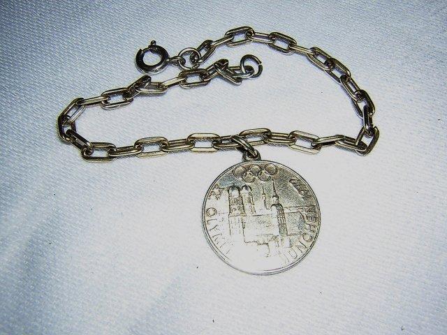 XX. Olympiade Munchen 1972 silver coin bracelet Freistaat Bayern Olympics 1057vf