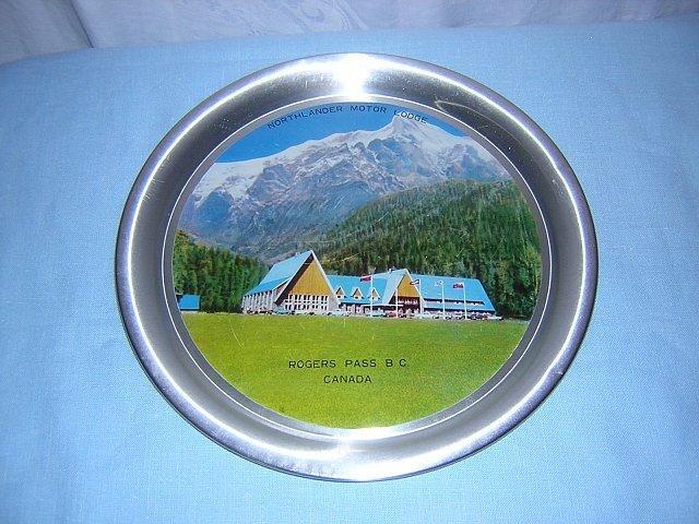 Souvenir photographic tin tray Northlander Motor Lodge Rogers Pass BC Canada 1059vf
