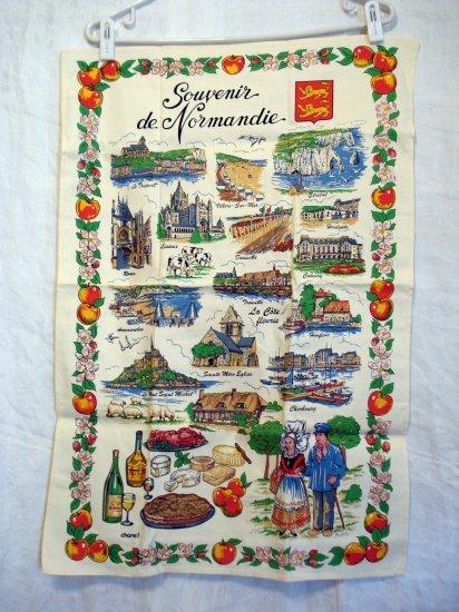 Souvenir de Normandie Normandy cotton towel sites tastes costumes unused vintage 1063vf